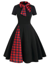 Load image into Gallery viewer, 1950S Bow Collar Plaid Swing Dress
