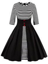 Load image into Gallery viewer, Stripe Long Sleeve 50s Black Dress