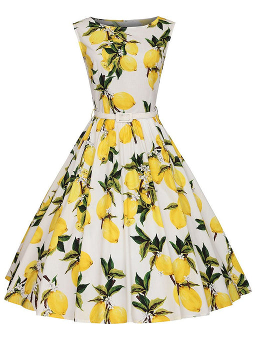 Sweet Lemon Printed Cotton 50s Flapper Dress