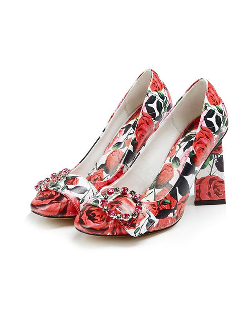 Red Rose Print Chunky Heel  Vinatge Sandals