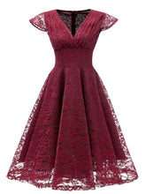 Load image into Gallery viewer, Autumn Lace Cap Sleeve V Neck 50s Party Dress