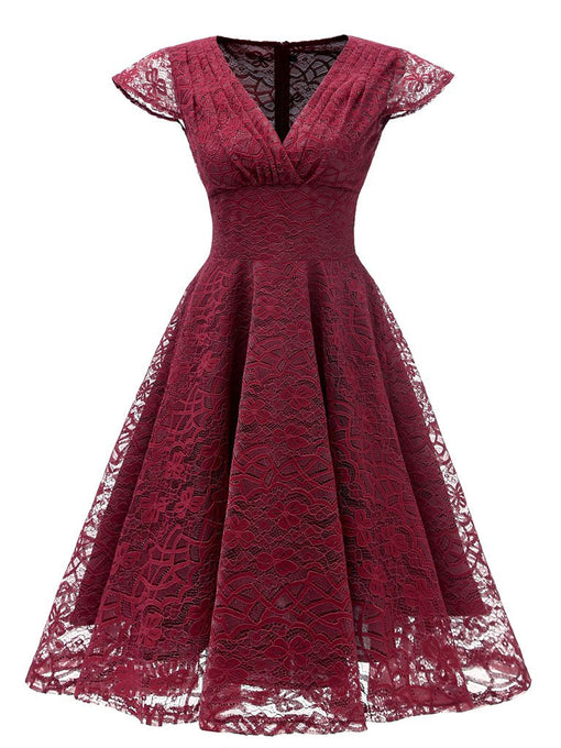Autumn Lace Cap Sleeve V Neck 50s Party Dress