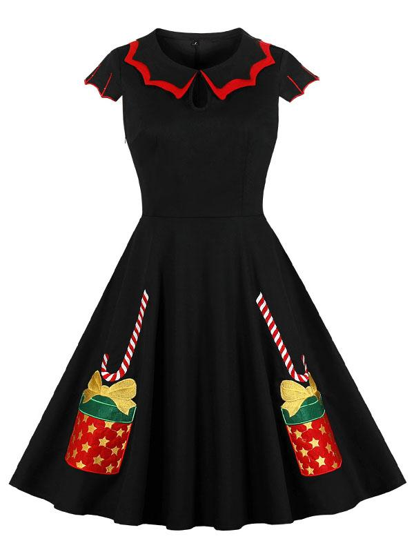 Christmas Gift Box Embroidery Double-Layer Vintage Dress