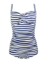 Load image into Gallery viewer, One Piece Cross Front Design Striated Solid Background Retro Swimwear