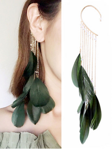 Women's Earrings Feather Earrings Unique Single Tassel Vintage Party Earrings