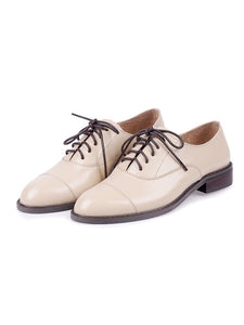 Women's Oxfords Round Toe Cowhide Leather Vintage Shoes