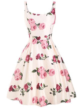 Load image into Gallery viewer, Pink 1950s Rose Floral Swing Vintage Dress