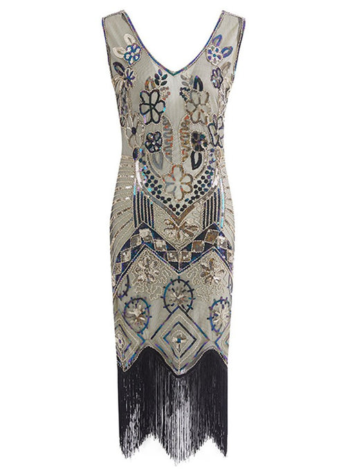 1920S Floral Fringed Sequin Gatsby Dress