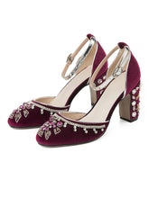 Load image into Gallery viewer, 8.5CM Luxury Velvet Chunky Heels Retro Shoes