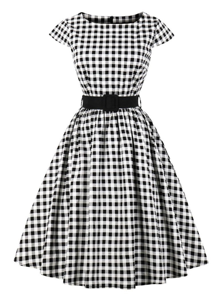 1950s Plaid With Belt Vintage Dress