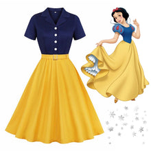 Load image into Gallery viewer, Snow White Style Inspired 50s Autumn Dress