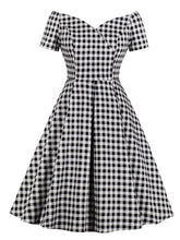Load image into Gallery viewer, Plaid Collar Consice Short Sleeve Vintage Dress