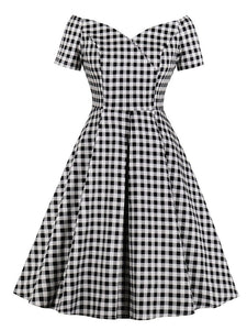 Plaid Collar Consice Short Sleeve Vintage Dress