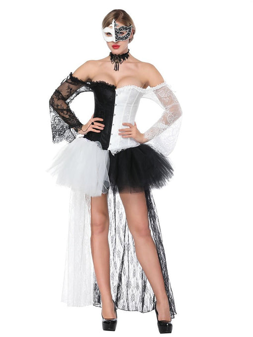 Halloween Gothic Costume White Women Tulle Skirt And Corset
