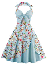 Load image into Gallery viewer, Halter Off Shoulder Floral Bow Retro Dress