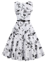 Load image into Gallery viewer, White Printed Sleeveless 1950s Dress