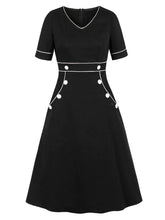 Load image into Gallery viewer, Black With Pocket V Neck Short Sleeve 50S Dress