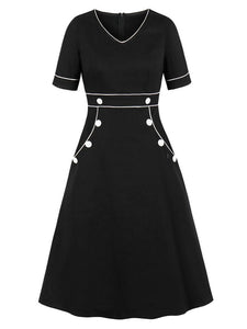 Black With Pocket V Neck Short Sleeve 50S Dress