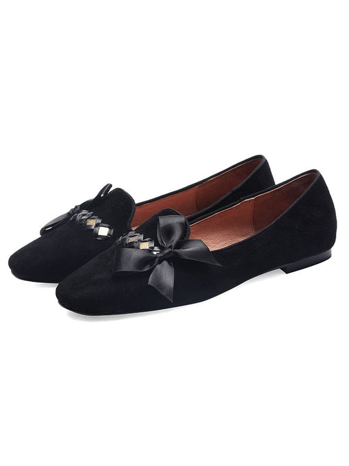 Women's Flats Square Toe Bow Leather Vintage Shoes