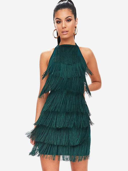 O Neck Fringe Backless Vintage Party Dress