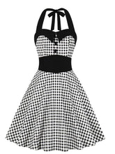 Load image into Gallery viewer,  Halter Plaid 1950s Vintage Dress