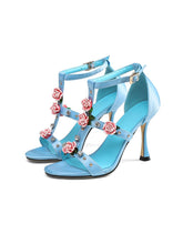 Load image into Gallery viewer, Luxury Rose Flower T Strap Vinatge Sandals