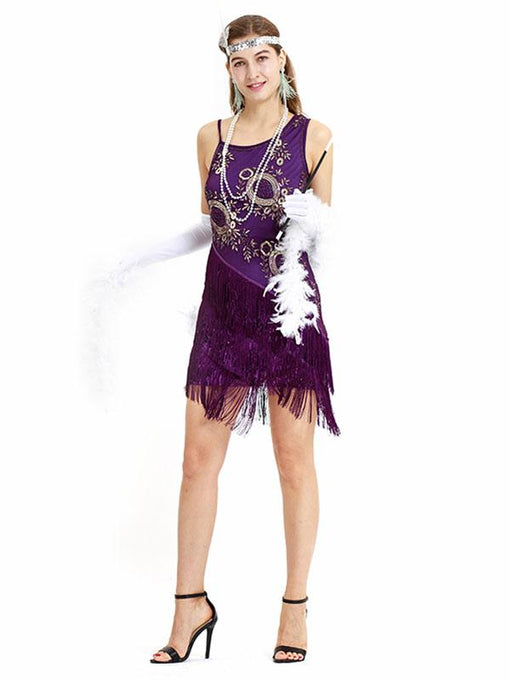 Purple 1920s Sequined Fringed  Flapper Dress