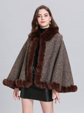Load image into Gallery viewer, Poncho Knitwear Women Oversized Sweater Faux Fur Coat Shawl Collar Sweaters