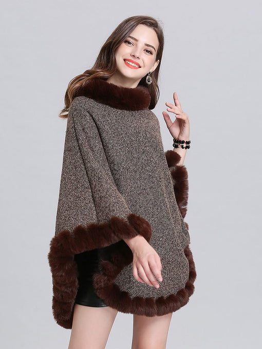 Women Woolen Poncho Faux Fur Shawl Collar Oversized Winter Coat