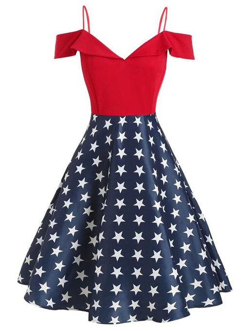 Red 1950s Star Cold Shoulder Dress