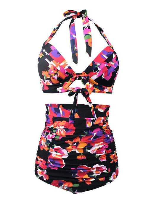 Floral Print Halter Backless Retro Style Binikis Swimwear