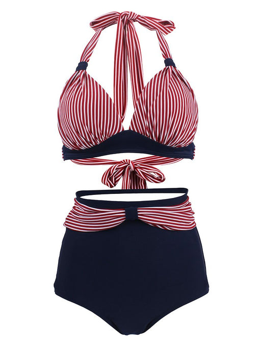 Concise Sexy Backless Retro Style Striated Two Pieces Bikini Sets