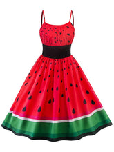 Load image into Gallery viewer, Sweet Watermelon Design Spaghetti Vintage Dress