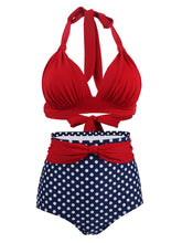 Load image into Gallery viewer, Concise Sexy Backless Retro Style Solid Red Two Pieces Bikini Sets