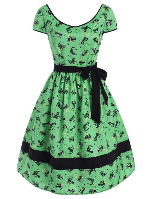 Green Halloween Dress Cap Sleeve With Black Belt Dress