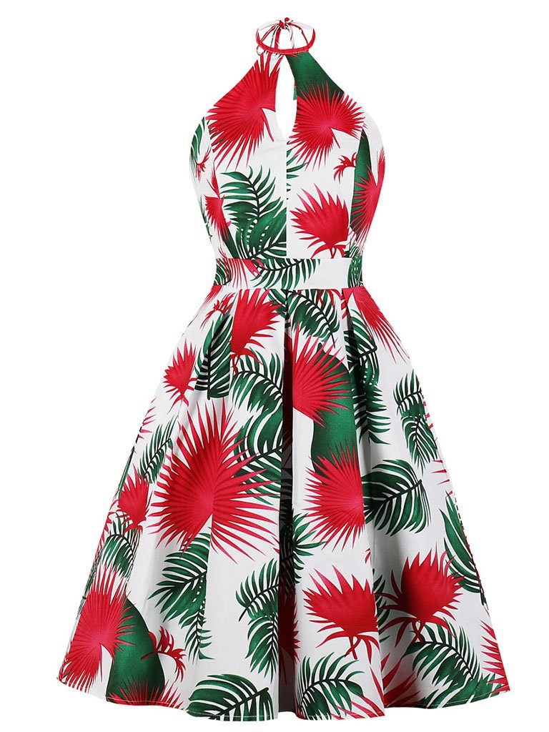 Halter Keyhole Red and Green Floral A Line 1950s Cocktail Vintage Dress