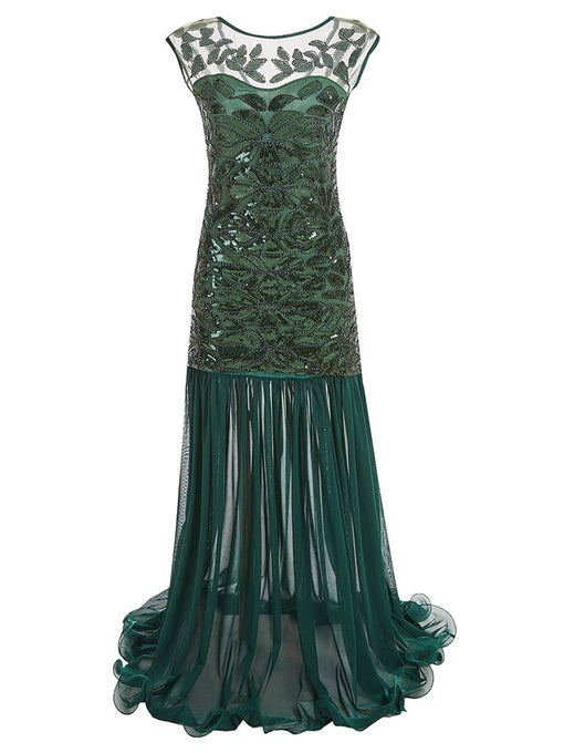 Green 1920s Maxi Sequined Flapper Dress
