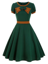 Load image into Gallery viewer, 1950S Bow Collar Swing Dress With Belt