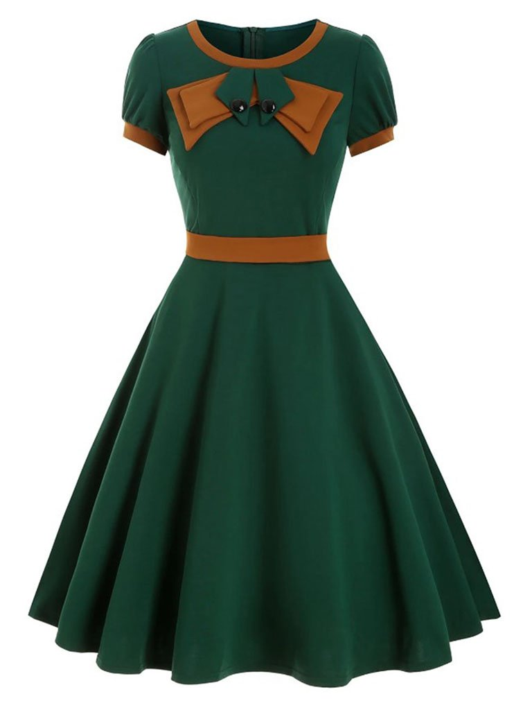 1950S Bow Collar Swing Dress With Belt