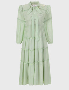 Light Green Bow Collar Vintage Embroidery Maxi Dress