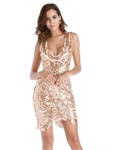 V Neck Sequin Sleeveless Party Dress