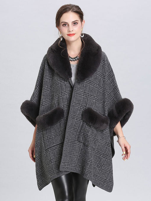 Faux Fur Coat Gingham Women 's Overcoat With Pockets