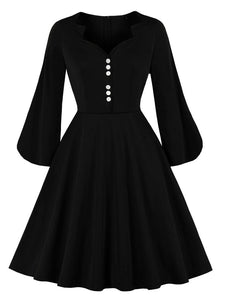 Black Long Sleeve 50s Style Dress