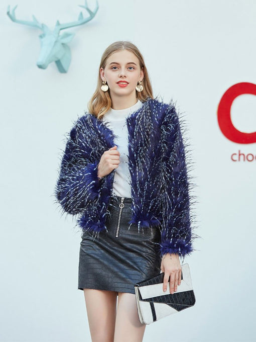 Peacock Long Sleeve Faux Fur Jacket For Women