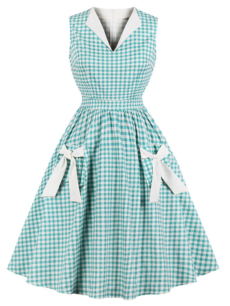 Printed V Neck Green plaid Vintage Dress