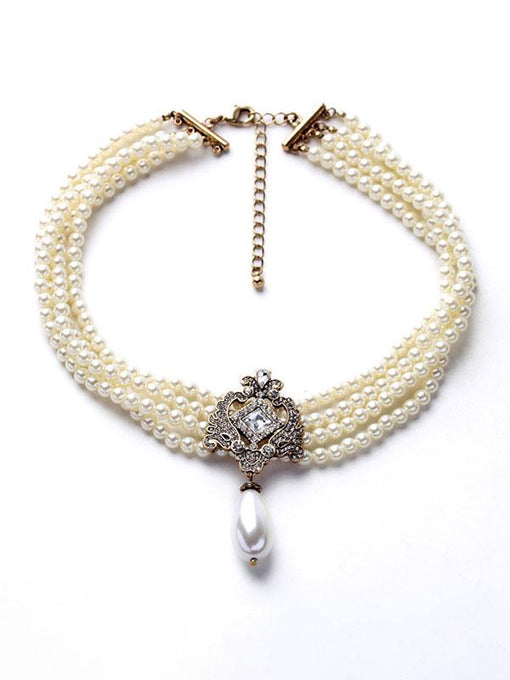 Beautiful White Pearl Statement Necklace for Women & Girls