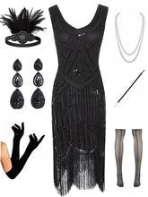 Load image into Gallery viewer, Sequined Fringed Flapper 20S Dress Set