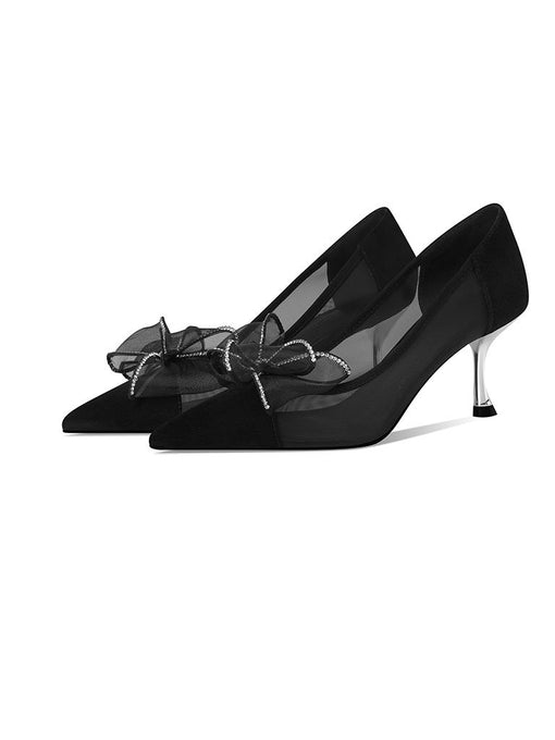 7CM Bow Tulle High Heel Platform Pointed Toe Leather Shoes