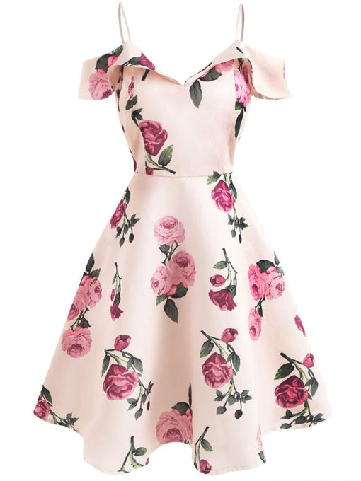 Sweet Pink Floral Spaghetti Low Back Dress