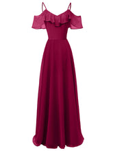 Load image into Gallery viewer, Solid Color  Spaghetti Ruffles Chiffon A line Vintage Maxi Dress